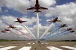 The Red Arrows low level flypast over 04 threshold at RAF Scampton