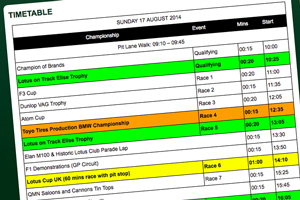 Lotus Festival on-track timetable published